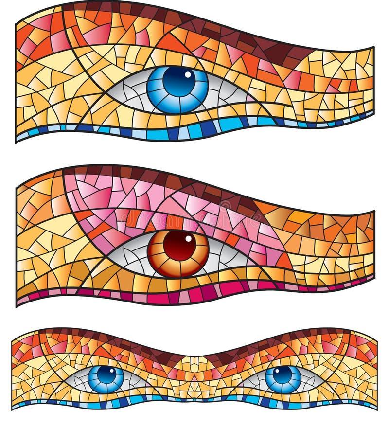 geometric mosaic with eyes vector illustration