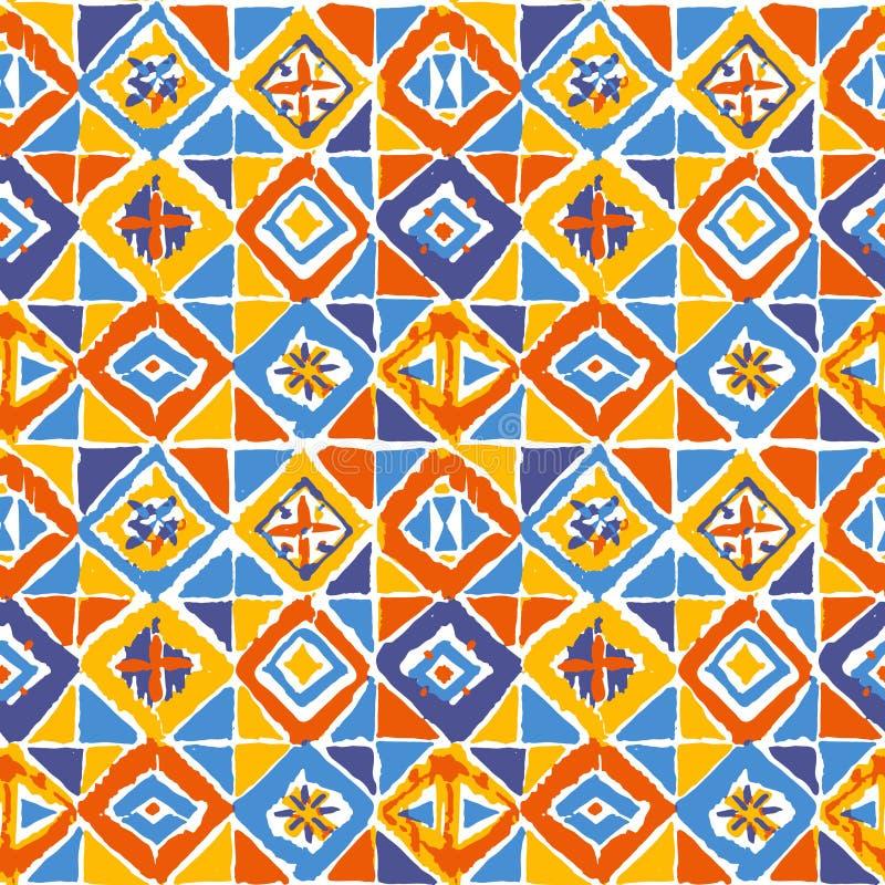 geometric mosaic ikat pattern in royalty free illustration