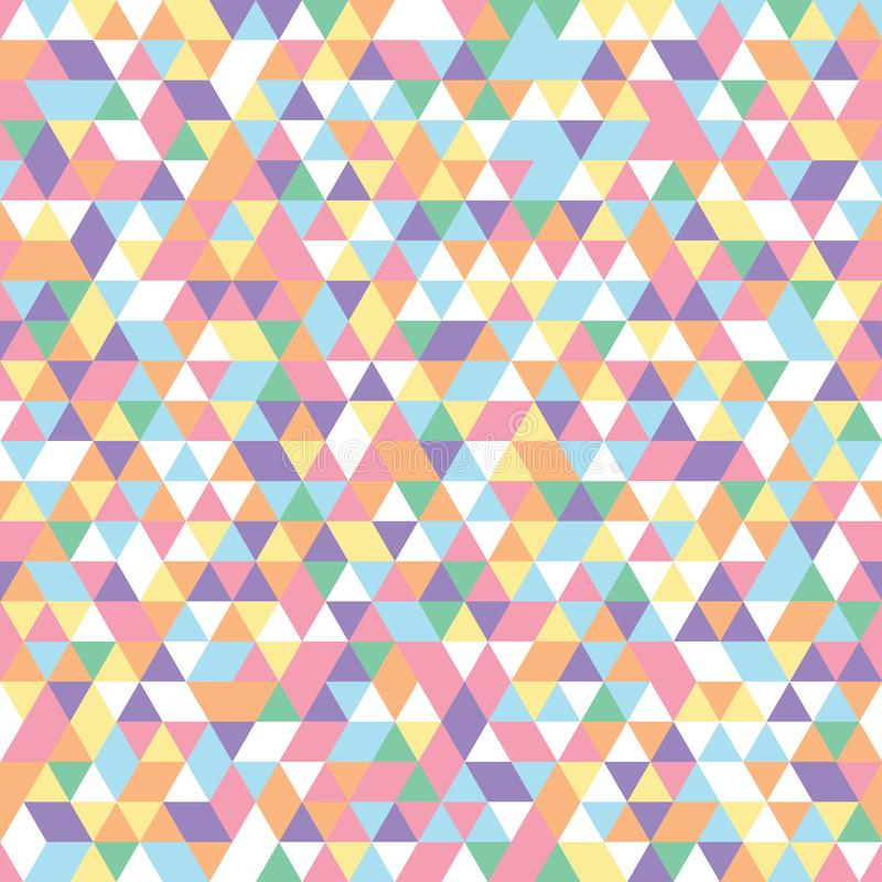 Geometric mosaic pattern triangles colorful pink blue white yellow purple orange stock illustration