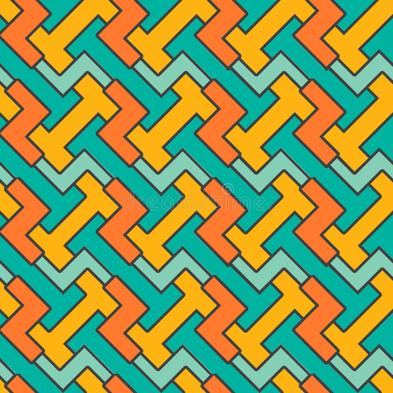 Geometric mosaic pattern. Vector seamless abstract. Vintage background. Retro orange and blue colors. Endless texture can be used for printing onto fabric and vector illustration