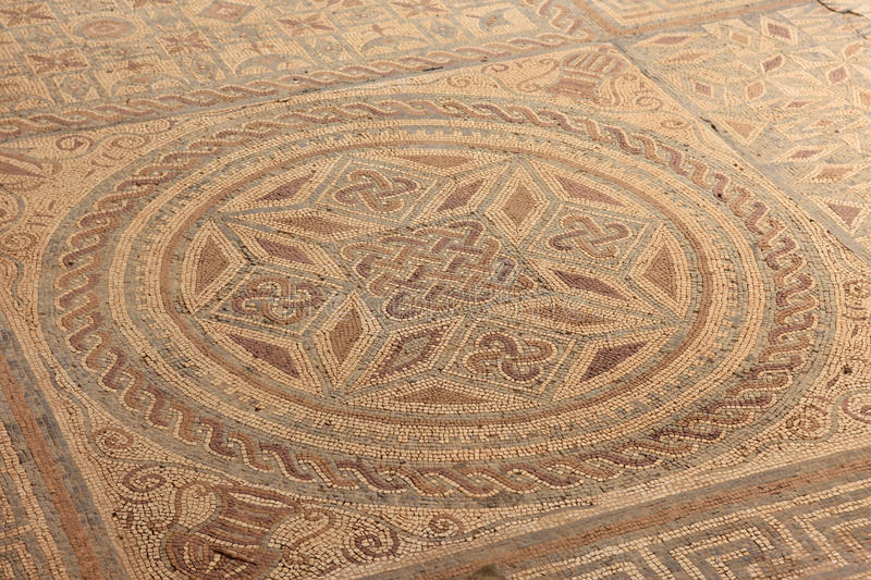 Geometric mosaic, Roman ruins of the ancient city of Conimbriga, Beiras region, Portugal stock photography