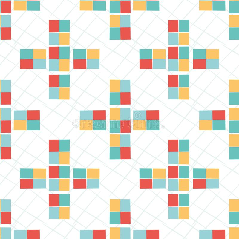 Geometric mosaic style vector seamless pattern background. Colorful modern tiled crosses on scribble texture backdrop. Bright yellow, teal, red and white stock illustration