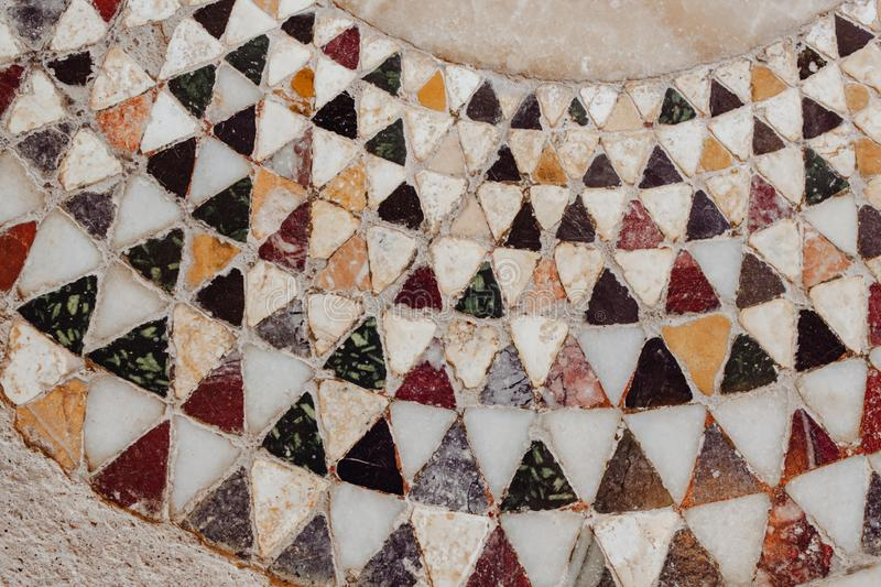 Geometric Mosaic Wall Vintage Triangle Design royalty free stock photography