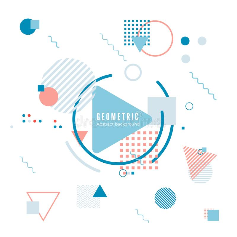 Geometric motion design concept. Simple geometry pattern with frame and text. Identity banner print. Vector illustration royalty free illustration