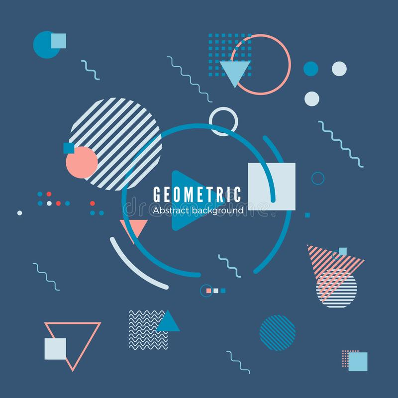 Geometric motion design concept. Simple geometry pattern with frame and text. Identity banner print. Vector vector illustration