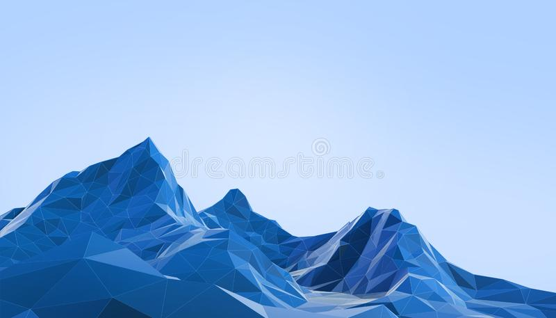 Geometric Mountain Landscape art Low poly with Colorful Blue Background. 3d rendering royalty free illustration