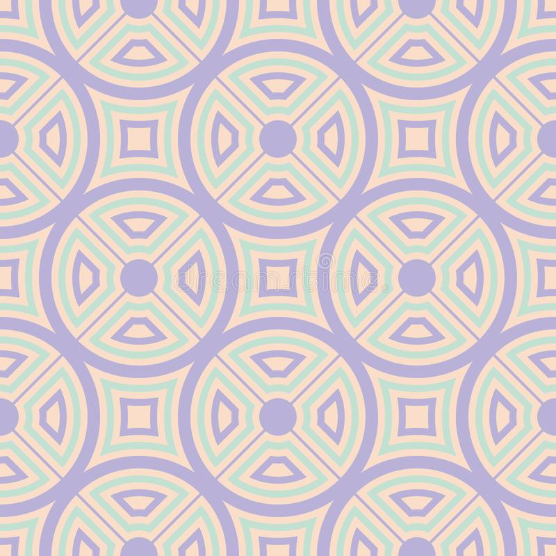 Geometric multi colored seamless pattern. Beige background with violet and blue design elements royalty free illustration