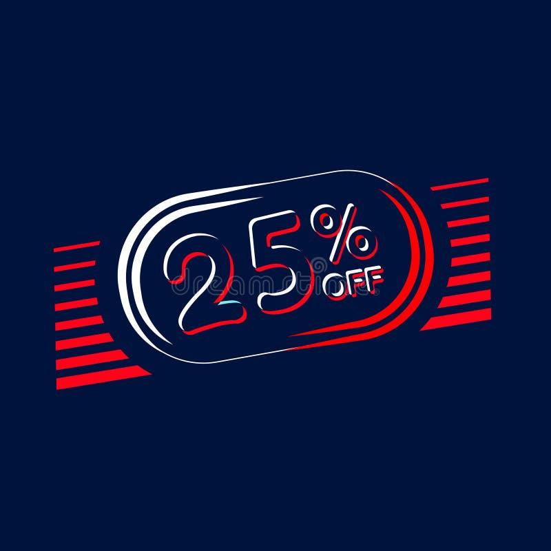 Sale of labels. 25 off illustration vector illustration