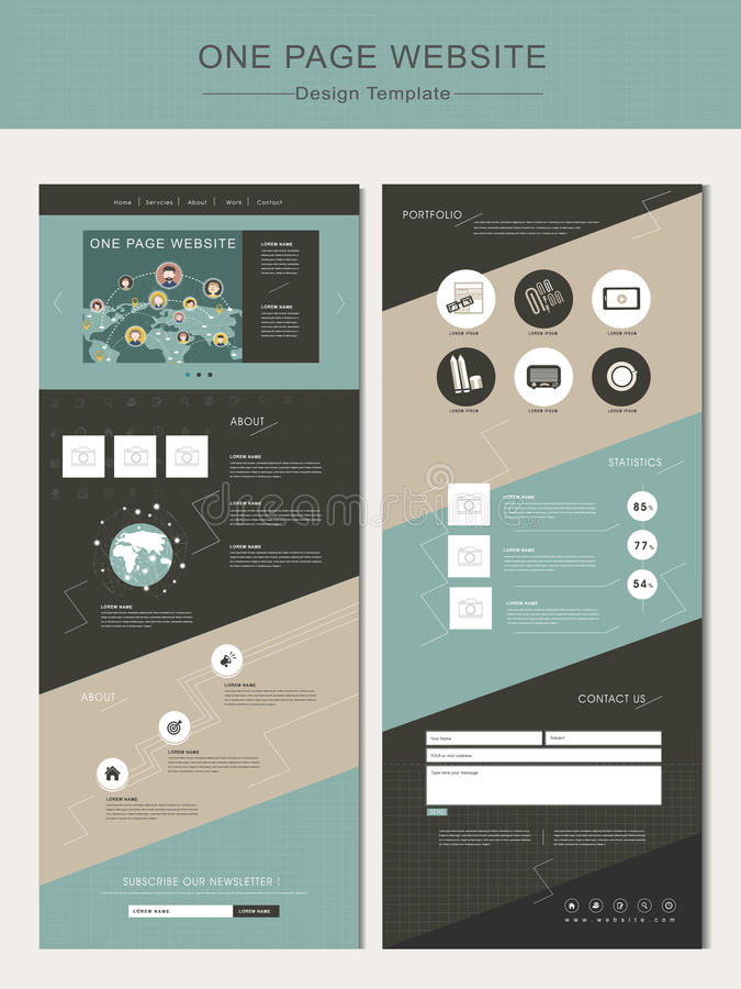 Geometric one page website design template stock illustration