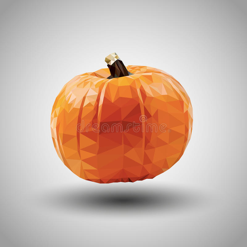 Geometric origami pumpkin with grey background royalty free stock image