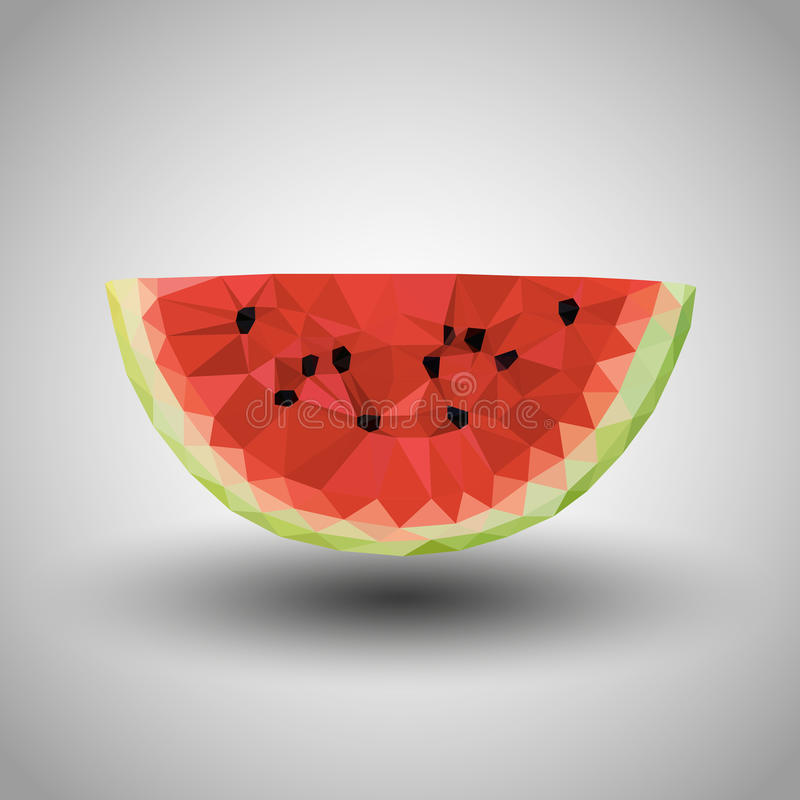 Geometric origami watermelon with grey background royalty free stock image