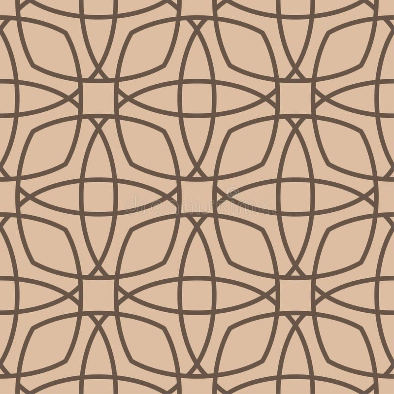 Geometric ornament. Beige and brown seamless pattern vector illustration