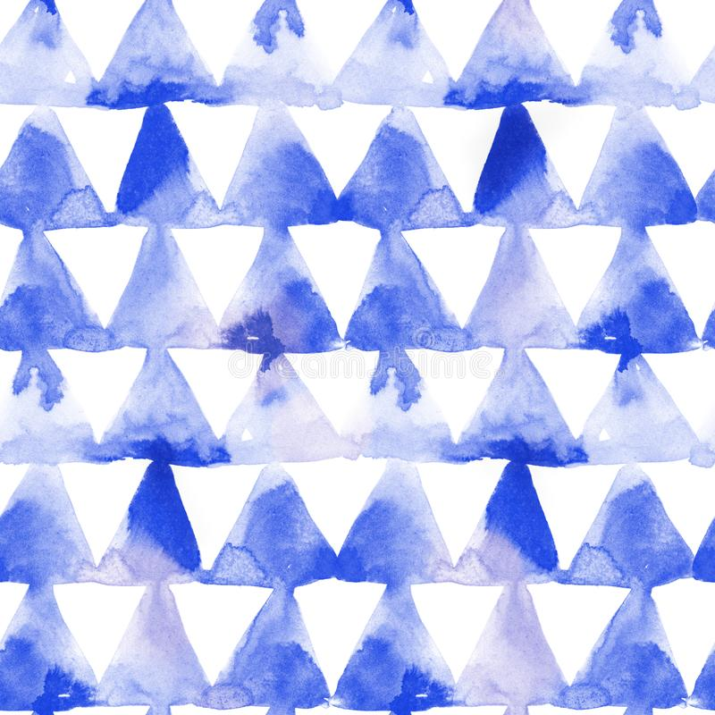 Geometric ornament of blue ink triangles on white background. Watercolor seamless pattern vector illustration