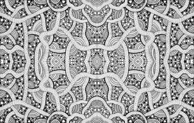 Geometric ornament coloring page for adults. Black and white background. Vector illustration royalty free illustration