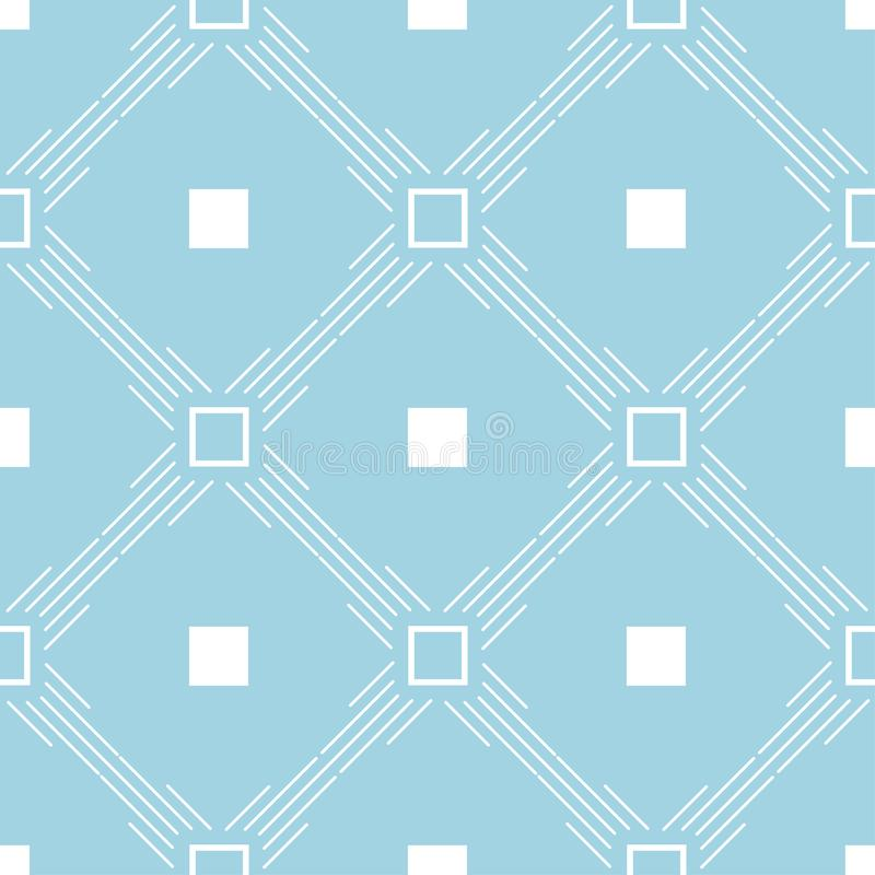 Geometric ornament. Navy blue and white seamless pattern vector illustration
