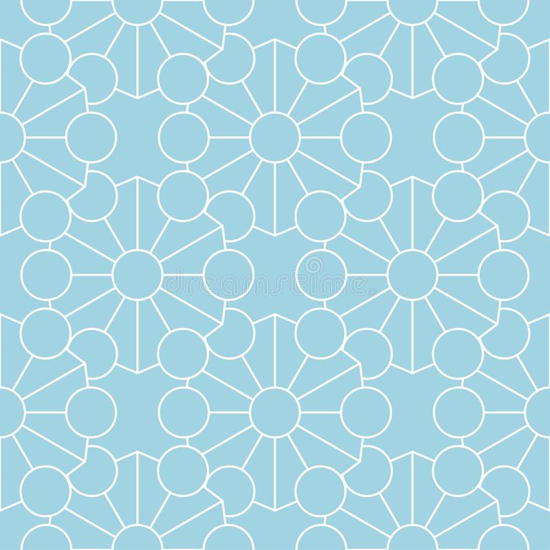 Geometric ornament. Navy blue and white seamless pattern stock illustration