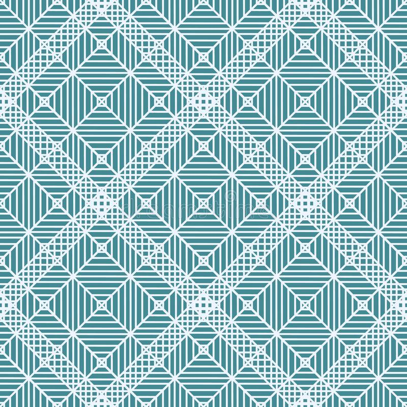 Geometric ornament. Navy blue and white seamless pattern for web, textile and wallpapers vector illustration