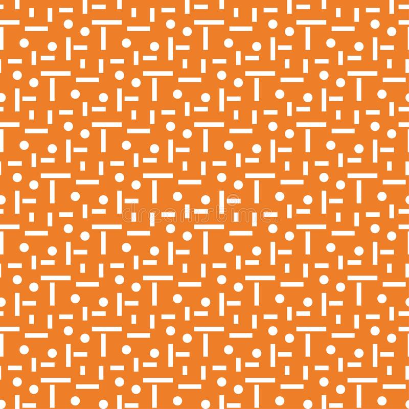 Geometric ornament. Orange and white seamless pattern royalty free illustration