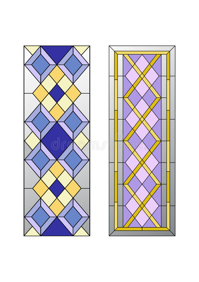 Geometric ornament with rhombs. Geometric ornament, stained glass with rhombs pattern stock illustration