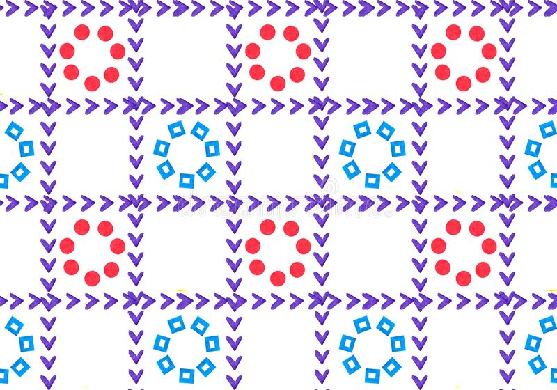 Geometric ornament seamless pattern from the grid. In the cells is flowers. Petals is shape of hearts and circles. vector illustration