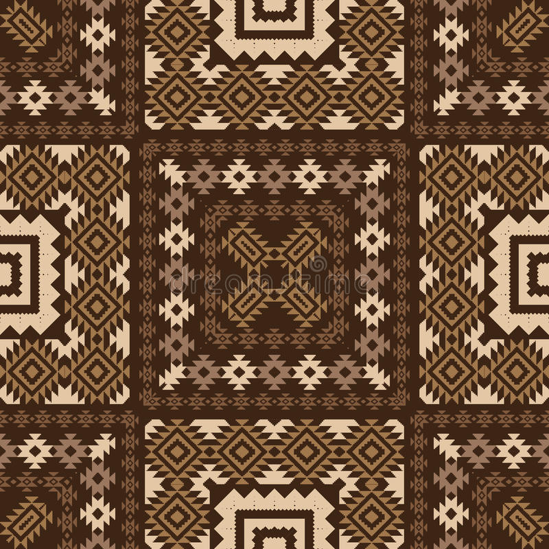 Geometric ornamental pattern in brown vector illustration