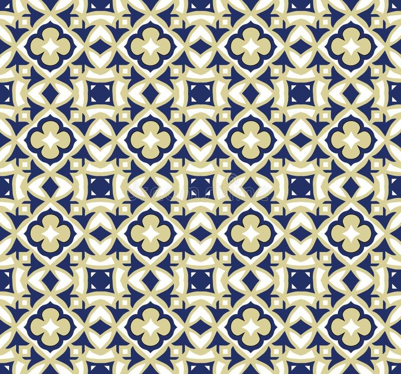 Geometric ornamental vector tiles pattern. Geometric ornamental vector blue and yellow modern tiles seamless pattern royalty free stock photo