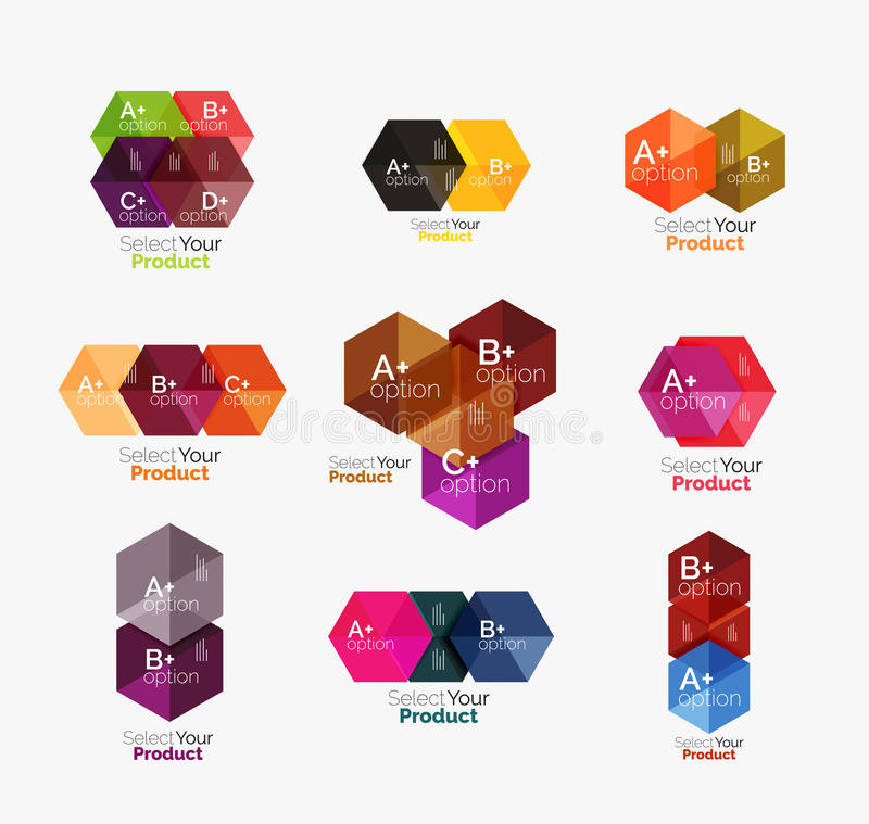 Geometric paper business infographics layouts. Vector set of geometric paper business infographics layouts royalty free illustration