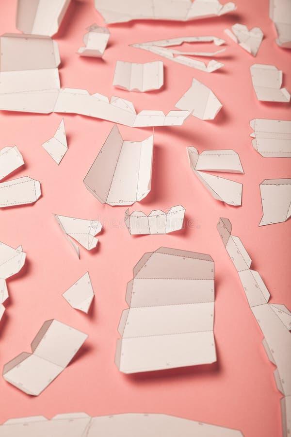 Geometric paper craft. 3d polygonal model, triangulation do it yourself design art. Decrowcraft, pepakura concept.  royalty free stock photo
