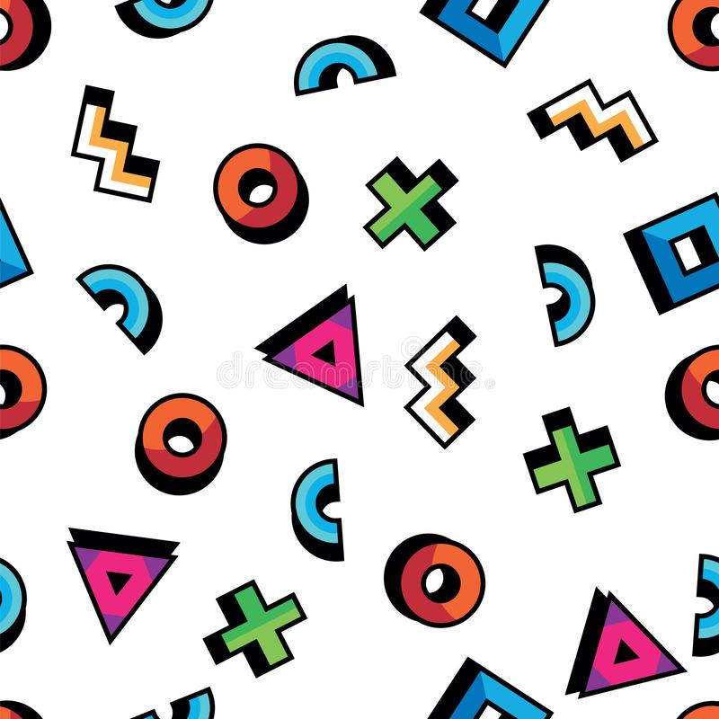 Geometric pattern in abstract style. Seamless pattern with geometric figures. Triangle, circle, square, cross, arc vector illustration