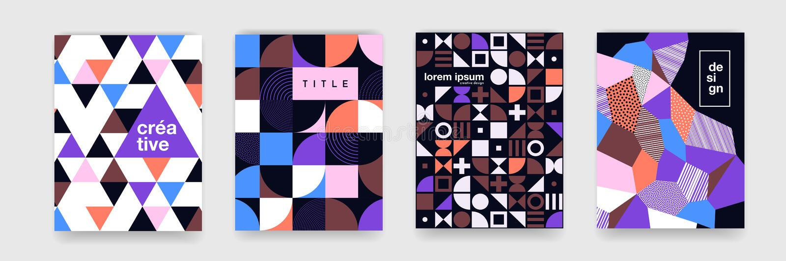 Geometric pattern background texture for poster cover design. Minimal color vector banner template with circles, square. Abstract geometric pattern background vector illustration