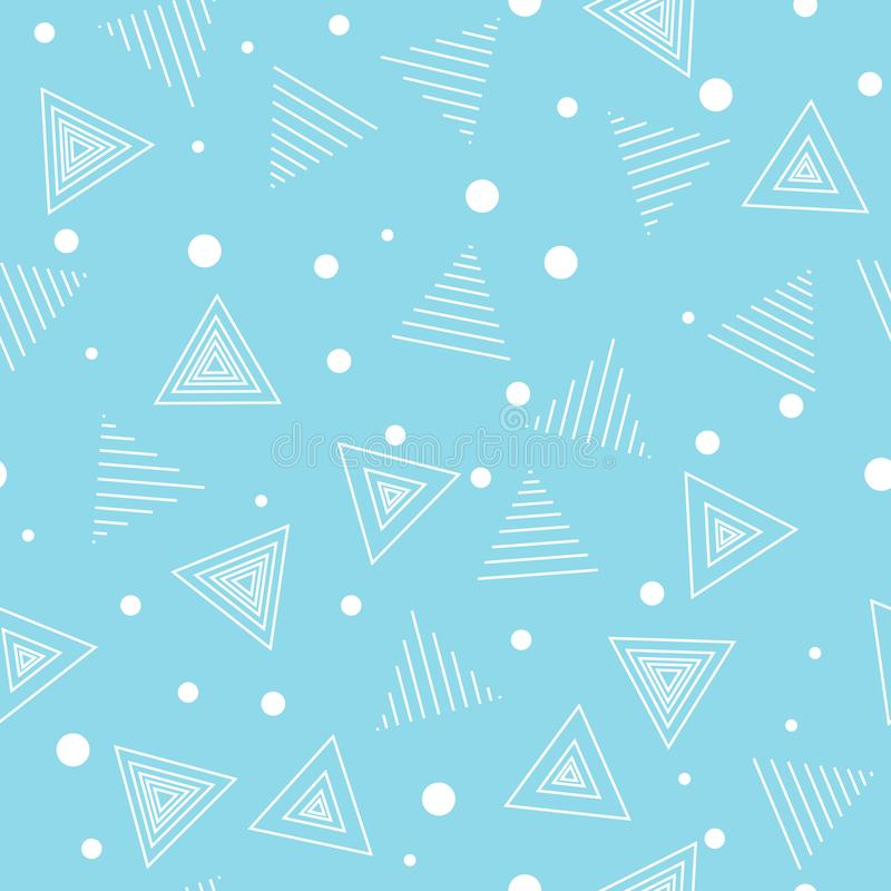 Geometric pattern. Chaotic. Triangles and points. Seamless background. Light blue and white vector illustration