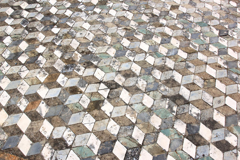 Geometric pattern floor in ancient Pompeii, Italy. Casa del Fauno is one of Pompeii's grandest houses, it was here that early excavators found Pompeii's greatest stock photo