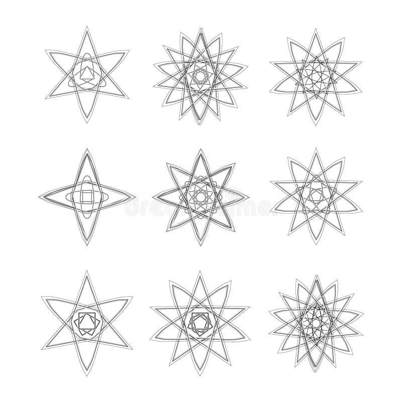 Geometric pattern icon star astrology set pentagram stock images