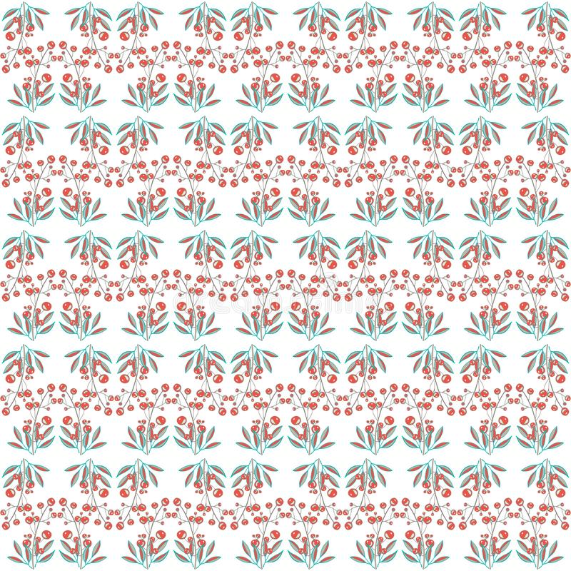 Geometric pattern with red berries and green leaves stock illustration