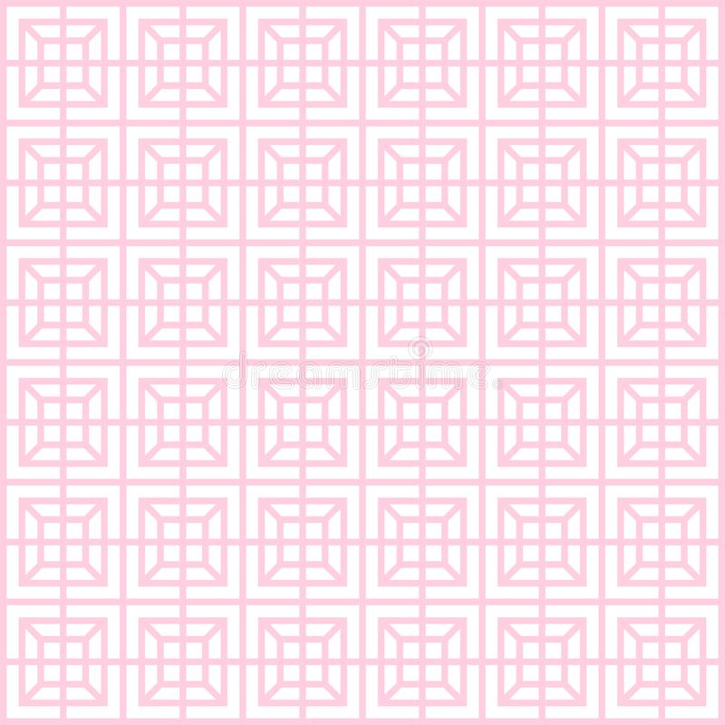 Geometric pattern, seamless square simple background texture thin line and light pink color royalty free illustration