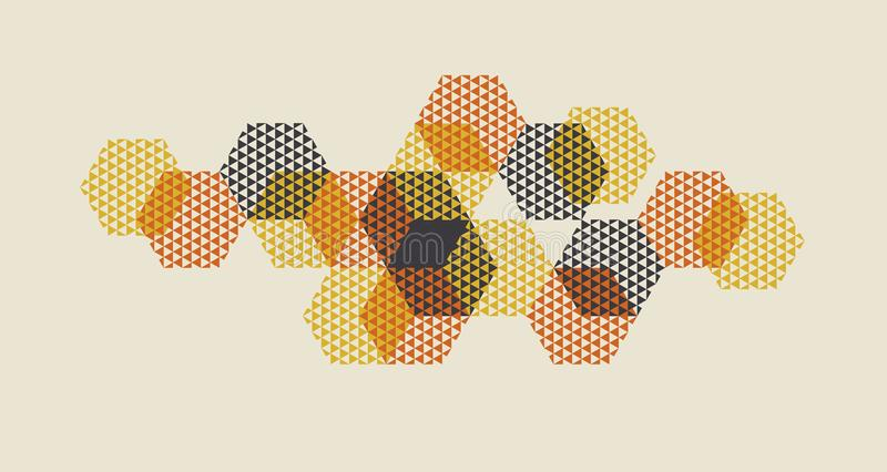Geometric pattern vector illustration in retro 60s style. Vintage 1970s geometry shapes graphic abstract design element for. Invitation, header, poster, cover royalty free illustration