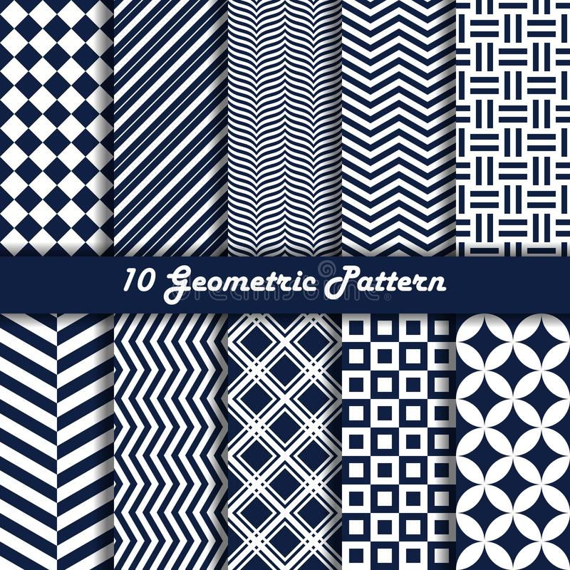 Geometric pattern vector seamless blue and white color royalty free stock images