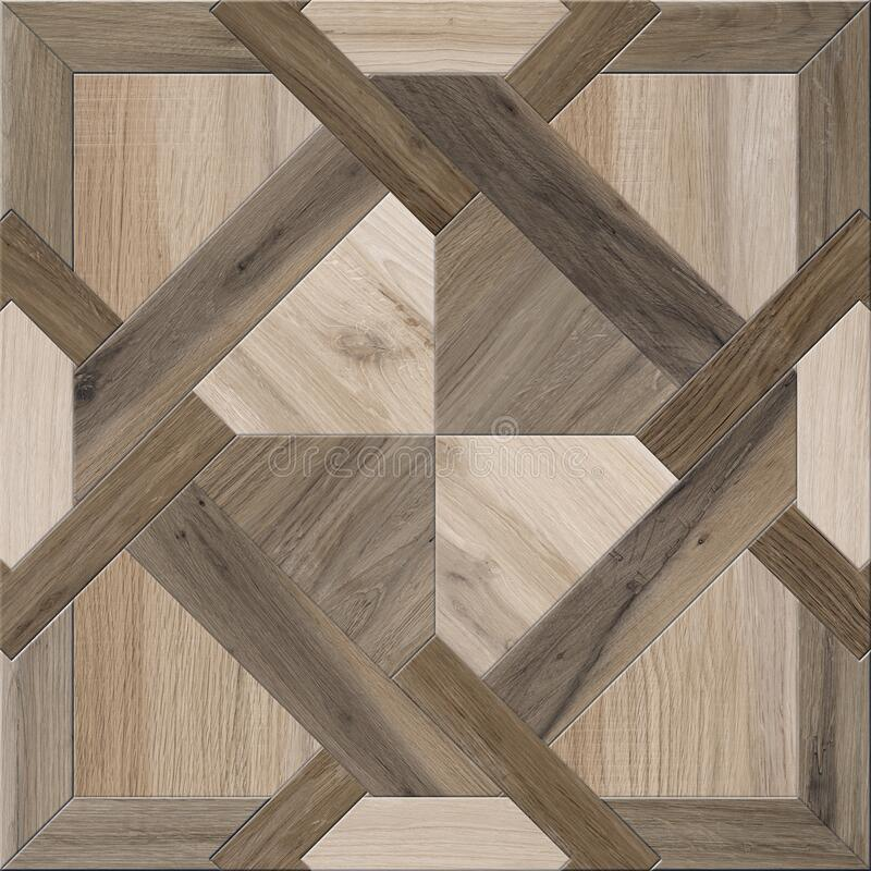 Geometric pattern wooden floor and wall mosaic decor tile royalty free stock images