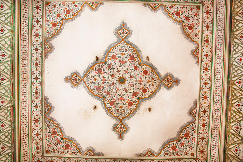 Geometric patterns on the ceiling of an old building in Indian style royalty free stock photos
