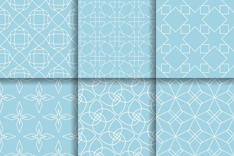 Geometric Patterns. Collection of Light blue seamless backgrounds stock illustration