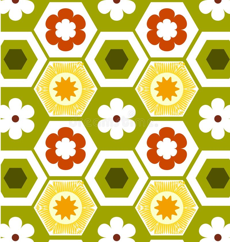 Geometric patterns floral retro vector illustration