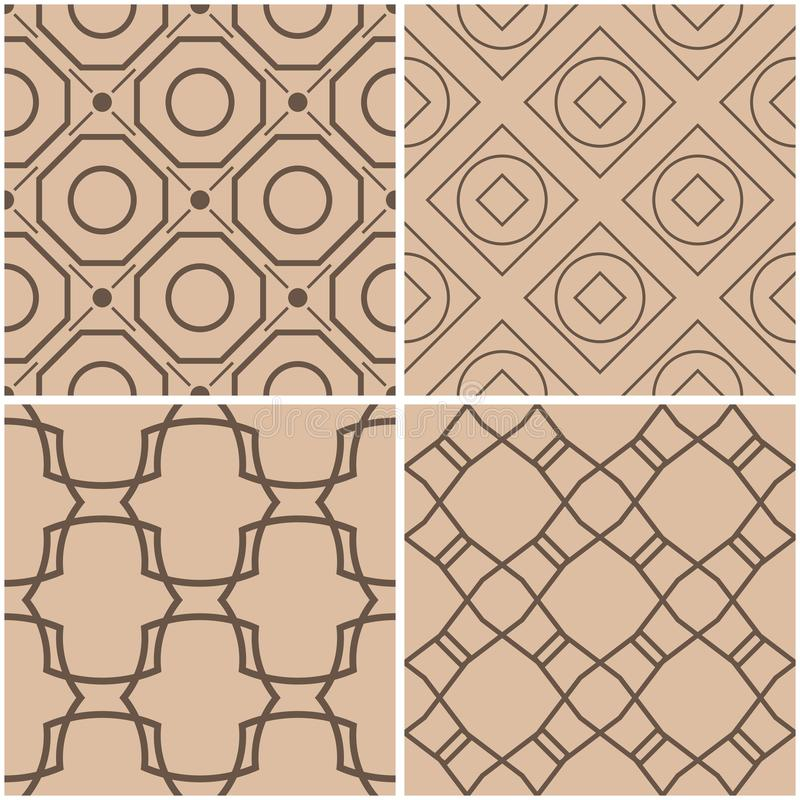 Geometric patterns. Set of beige and brown seamless backgrounds vector illustration
