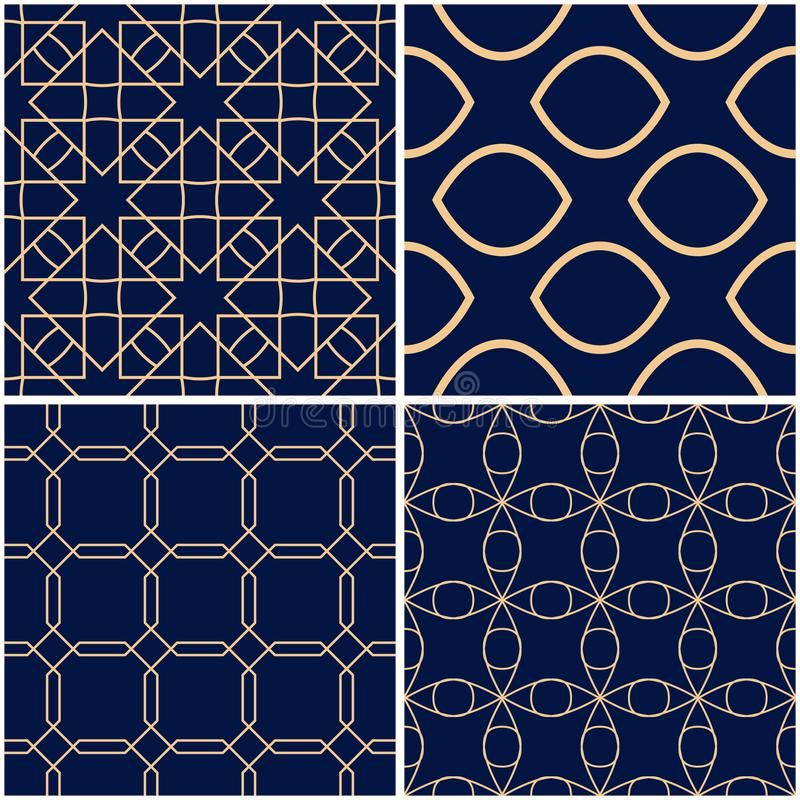 Geometric patterns. Set of golden blue seamless backgrounds stock illustration
