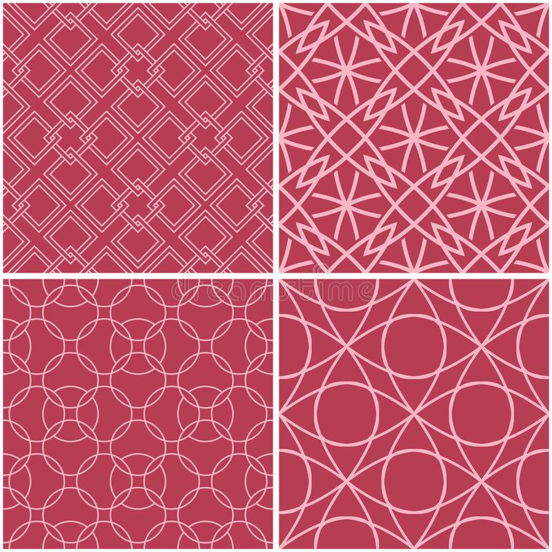 Geometric patterns. Set of pale red seamless backgrounds vector illustration
