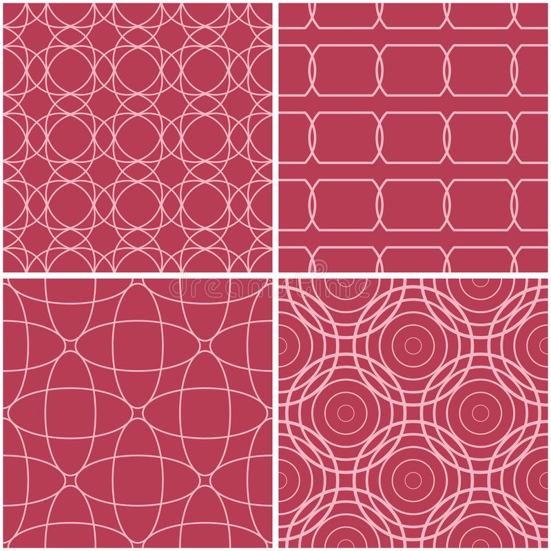 Geometric patterns. Set of pale red seamless backgrounds stock illustration