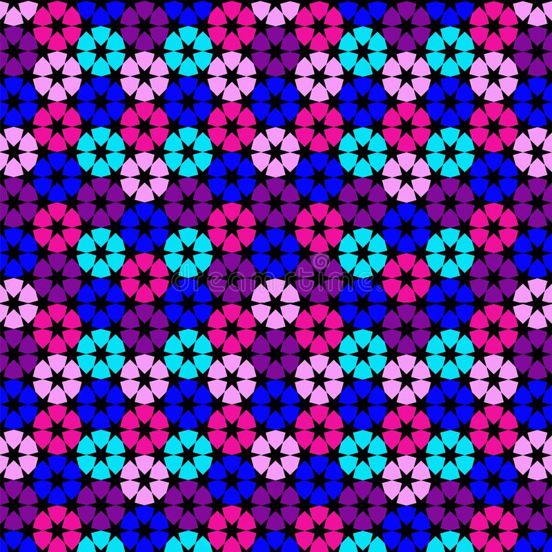 Geometric pink blue turquoise pattern on a blue background. Vector illustration for decorating websites, posters, banners, flyers. stock illustration