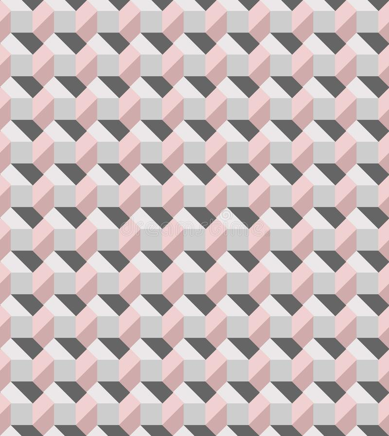 Geometric pink and grey seamless vector pattern inspired by modern tiles stock photography