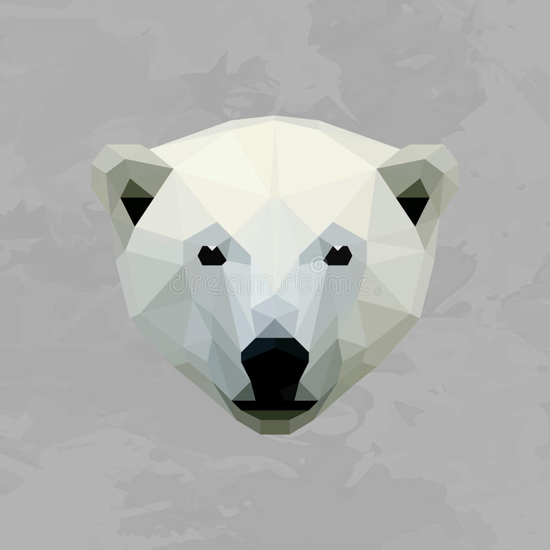 Geometric polar bear head colored vector illustration