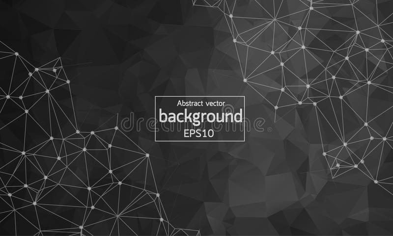 Geometric Polygonal background molecule and communication. Connected lines with dots. Minimalism chaotic illustration background. Concept of the science stock illustration