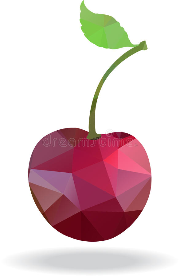 Geometric polygonal fruit, triangles, cherry, royalty free illustration